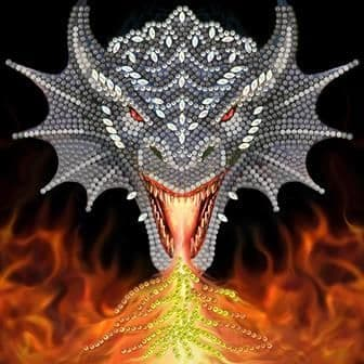 Dragon Fire Head Anne Stokes Crystal Art Card Kit
